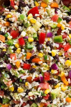 A perfectly delicious and healthy rice recipe! This Fiesta Rice is packed with nutritious goodness and incredibly hearty. It's made up of brown rice, Mexican Rice Salad Recipe, Fiesta Rice Recipe, Savoury Rice Recipe, Healthy Rice Recipes, Rice Salad Recipes, Savory Rice, Brown Rice Recipes, Vegetarian Recipes, Brown Rice Salad
