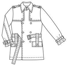Burdastyle 03-2009-129, Men's Trench coat jacket, 48-54
