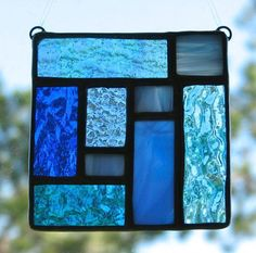 Stained glass mini patchwork square by Barbara's Glassworks Maybe make 3 in different colors hang vertically Stained Glass Cookies, Stained Glass Ornaments, Stained Glass Suncatchers, Faux Stained Glass, Stained Glass Panels, Stained Glass Projects, Leaded Glass, Mosaic Glass, Fused Glass