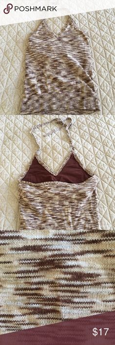 Gorgeous Halter Tan w/ Built-in Bra Shades of cream, tan & brown in a beautiful halter top that ties at the neck.  Built-in bra (no cups though, see pictures for details) but not for the well-endowed;). Stretchy knit material.  Smoke Free Pet Friendly home. Old Navy Tops