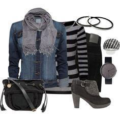 Denim, Grey & Black by fashionista88 on Polyvore featuring Dear Cashmere, MANGO, Nobody Denim, UGG Australia, Uniform Wares, Acne Studios and Naturalizer