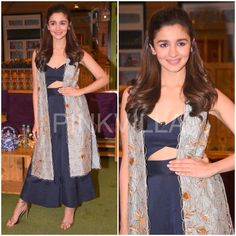 Alia Bhatt taped for an episode of 'The Kapil Sharma Show' earlier today to promote 'Badrinath ki Dulhania'She wore separates from Payal Singhal's la. Dress Indian Style, Indian Dresses, Indian Wear, Indian Outfits, Indian Attire, Star Fashion, Look Fashion, Indian Fashion, Fashion Tips