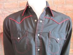Mens MEDIUM western shirt Chute No 1 vintage black by Vintrowear, $30.00