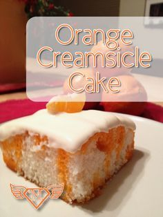 Orange-Creamsicle-Cake For Cake:  1 white cake mix  eggs, oil, and water as directed on package 1 small package orange JELL-O 1 1/2 cups water  For Frosting: 1 small package vanilla pudding 1 1/2 cups milk  2+ cups whipped cream