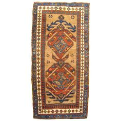 Antique Persian Camel Hair Serab Oriental Rug, in Small Runner Size, circa 1900   From a unique collection of antique and modern persian rugs at https://www.1stdibs.com/furniture/rugs-carpets/persian-rugs/