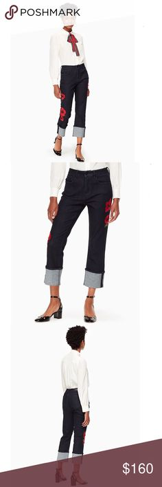 """Kate Spade Poppy Embroidered Jeans Kate Spade Poppy Embroidered Jeans. Great jeans with embroidered red poppies down legs with bead accents. Rolled up legs can be worn down. 92% Cotton, 8% Polyester, 1% Spandex. Measurements: Sz 27, Waist - 14.5"""" side seam to side seam, Hips - 18.5"""" side seam to side seam, Inseam - 25"""" (plus 5"""" fold up) Rise - 10.5"""", Sz 28, Waist - 15"""", Hips - 19"""", Inseam - 25"""", Rise - 10.5"""", Sz 29, Waist - 15.5"""", Hips - 19.5"""", Inseam - 25"""", Rise - 11"""", Sz 30, Waist - 16""""…"""