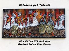 Original Acrylic Painting Country Home Wall Art Whimsical Chicken Rustic Kitchen home decor Farm Animal canvas painting Great Gift Idea Rooster Painting, Rooster Art, Chicken Painting, Chicken Art, Painting Edges, Acrylic Painting Canvas, Farmhouse Wall Art, Farmhouse Decor, The Art Sherpa