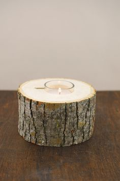 """Natural 5"""" Wide Tree Branch Votive Holder with Candle - Savoncrafts for $8.00"""