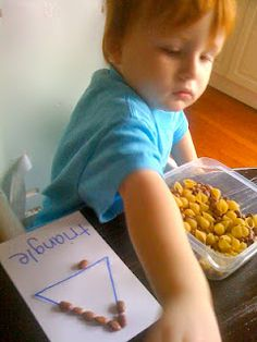 Shapes preschool theme idea: Pasta and Bean Shape Pictures