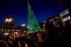 Christmas art tree Eco-green cone in Madrid, Spain.