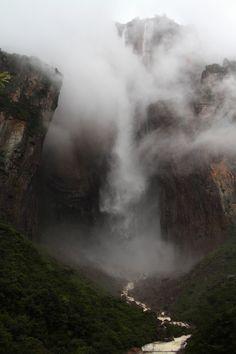 moody-nature:    Angel Falls, super misty. | By Marc Wisniak