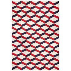 New Rugs - Red Lorenzo Reversible Peruvian Llama Flat Weave Rug