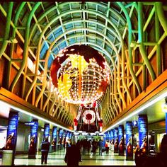 The globe inside the Chicago O'Hare airport American terminal photographed by Liz Strauss on Instagram.