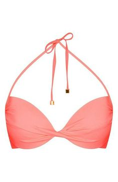 This pink plunge bikini top is super cute for summer.