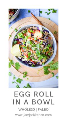 This Whole30 Egg roll in a bowl is healthy twist on a traditional egg roll that is packed with flavor and takes less than 20 minutes to prepare. It's Paleo, dairy free, gluten free and a great option for someone following the 2B Mindset program. Paleo Dairy, Dairy Free, Gluten Free, Recipe Share, Coleslaw Mix, Paleo Whole 30, Easy Weeknight Dinners, Egg Rolls, Cooking Light
