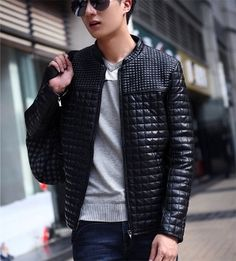 Men's Quilted PU Leather Jacket...Sale $40