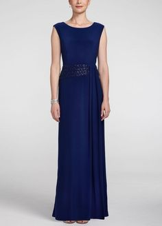 #Sleeveless Jersey Dress with Cascade Drape #David's Bridal bridal party > mothers & special guests  #