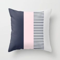Block Navy Grey Blush Throw Pillow