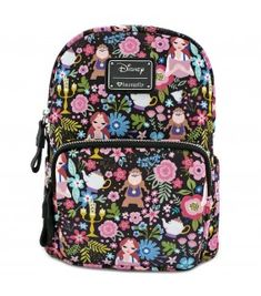 Amazing offer on Loungefly Disney Belle Beauty The Beast All Over Print  Characters Satin Mini Backpack online - Allfashiondress 3742efc71c073