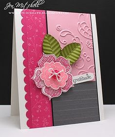 cardmaking inspiration:  A greeting card for a challenge ... card by Jen Mitchell in pinks, white, gray and a splash of ... luv the crimped leaves ... flat layered flower  .... fun card sketch!!