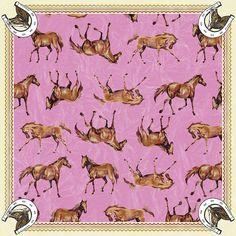 """Horses in Rose"" - Scarf by Macali para Do Estilista - SPFW INVERNO 2007 - ""CAIXA PRETA"""