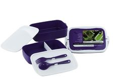 Bento Lunch Box with Handles - Double Stack 7-piece Set with Utensils - Fun Food Container for All Ages (Colors Vary)
