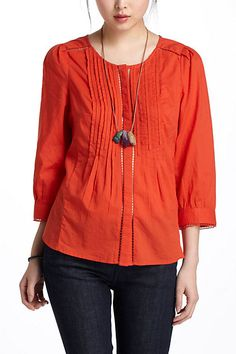 Pretty, simple tunic. Comes in white also. Fluted Tunic #anthropologie