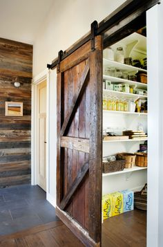 Love the doors! Meadow House - contemporary - kitchen - denver - Lawrence and Gomez Architects Kitchen Pantry Design, Rustic Kitchen, Kitchen Ideas, Kitchen Designs, Kitchen Photos, Kitchen Gallery, Country Kitchen, Kitchen Pantries, Barn Kitchen