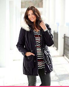 Plus size-parkas med pelskrage Bomber Jacket, Plus Size, Beautiful, Fashion, Velvet, Moda, Fashion Styles, Fashion Illustrations, Bomber Jackets