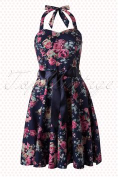 Amy - 50s Sally Large Floral Navy Swing Dress