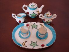Vintage ***SALE*** Miniature Tea Set, Sky Blue, Gold, Green Stars, Yellow Moons, Red Planet, 10 Pc Hand Painted Tea Party Set, Tea Pot, Mini by BackStageVintageShop on Etsy