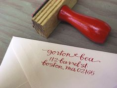 calligraphy stamp. would be so fun and cool for wedding invitations and/or thank you letters.