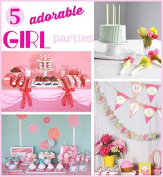 5 Birthday Party Ideas for Girls - of course I love the Polka dot idea 1st Birthday Party For Girls, Little Girl Birthday, Birthday Ideas, Party Party, Party Time, Creative Party Ideas, Pink Foods, Birthday Banners, Party Activities
