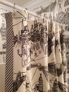 Custom shower curtain by BG Custom Windows/Cary for Betsy Anderson Interiors