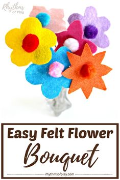 Easy Felt Flower Craft! Use the FREE printable pattern template and learn how to make these sweet, no-sew, felt flowers. The step-by-step tutorial makes this a fool-proof craft for kids of all ages! | #FeltCraft #DIYGiftIdea #HandmadeGift#HandmadeGiftIdea #KidsCraft