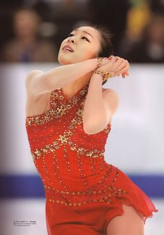Yuna Kim -Red Figure Skating / Ice Skating dress inspiration for Sk8 Gr8 Designs.