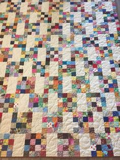 """Scrappy quilt 2.5"""" squares in 16 patch 4.5 x 8.5 bricks or cut bricks to size of 16 patch"""