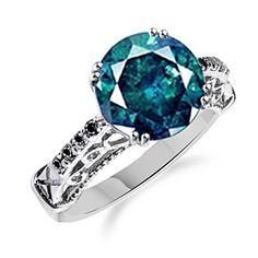 2.00Ct Bluesih Green Moissanite Black Diamond 14K White Gold Over Ring by JewelryHub on Opensky