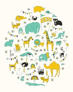 Let's Go To The Zoo Art Print by EineKleineDS on Etsy, $18.00