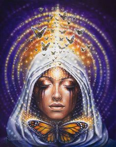 Chrysalis. Butterfly woman. In India the butterfly painted on the forehead can be seen as a symbol of illumination