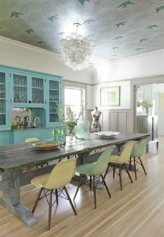 Oh - how I love these pastel chairs - but wait - check out the fabulous ceiling!!!    beach house by Holly Addi