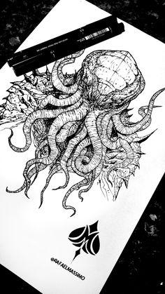 Cthulhu by @rafaelmassimo #dreamnomore #blackwork #sketch #cthulhu