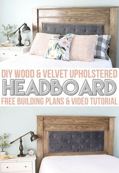 Learn how to make this DIY Tufted Upholstered Headboard with gorgeous wood frame. Step by step instructions and a video tutorial! #sponsored #woodworking #madewitharrow #arrowstrong @arrowfastener