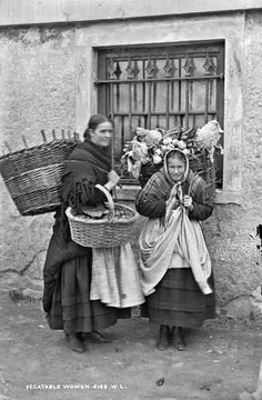 Women Selling Vegetables.  Photographed by Robert French (1865-1914).  National Library of Ireland.