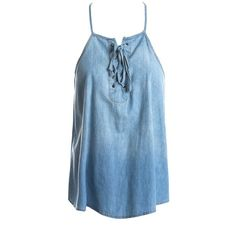 Sans Souci Chambray lace up top ($29) ❤ liked on Polyvore featuring tops, denim, laced tops, halter-neck tops, trapeze top, blue halter top and laced up top