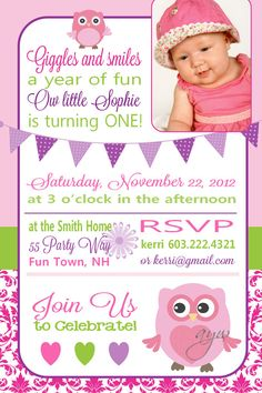 Owl First Birthday Party Invitation by AsYouWishCreations4u