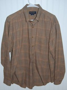 Brooks Brothers Flannel Shirt Mens Large L Long Sleeve Plaid Cotton Wool Blend #BrooksBrothers #ButtonFront