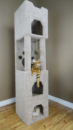 Bengal Cats New Cat Condos - Premier Cat Tower - Our Premier Cat Tower features many places for your cat to hide, climb, scratch, and play. Diy Cat Tower, Cat Playhouse, Cat Toilet Training, Cat Towers, Cat Whisperer, Pet Furniture, Furniture Market, Furniture Stores, Cat Condo