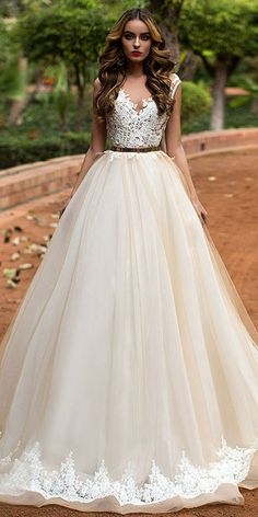Attractive Tulle Bateau Neckline A-line Wedding Dress With Lace Appliques & Beadings