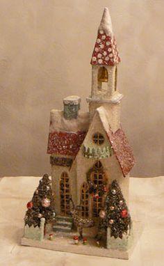VINTAGE Cardboard CHRISTMAS Villiage/Putz HOUSE/Church! | eBay